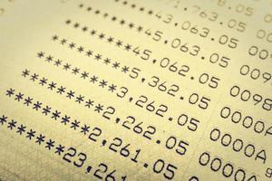 Bank statement close-up