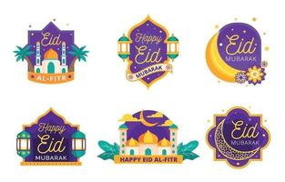Eid Mubarak Badges Collection vector