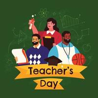 Happy Teacher's Day Design in Flat Style vector