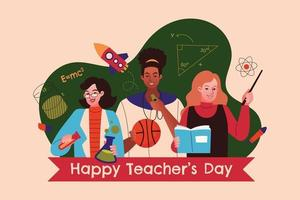 Teacher's Day Design with Multicultural Teacher Figures vector