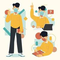 Student Boy Character Wearing Mask vector
