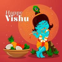 Flat Happy Vishu with Little Krishna vector