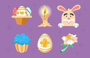 Easter Cute Icons with Detailed Execution vector
