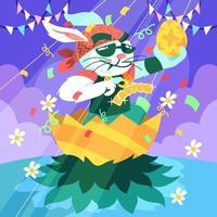 Rockstar Bunny of Easter vector