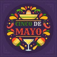 Flat Colorful Cinco De Mayo Festivity vector
