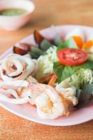Seafood on dish photo