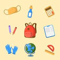 Flat Education School Icon Collection vector