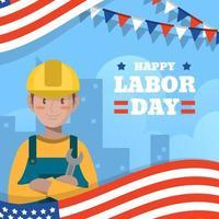 Flat Cute USA Labor Day vector