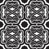 Vector seamless pattern of black geometric and floral elements on a white background.