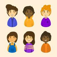 Cute Children Avatar Icon Collection vector