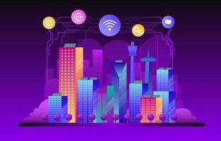 ciudad inteligente conectada con internet de las cosas vector