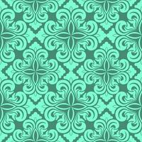 Seamless vector decorative pattern of Aqua Menthe color floral elements in the form of a rhombus on a turquoise background.