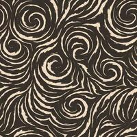 Seamless vector brown pattern of smooth lines with torn edges in the form of corners and spirals. Dark texture for finishing fabrics or wrapping paper in pastel colors.