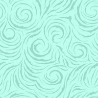 Seamless vector turquoise pattern of smooth lines with torn edges in the form of circles and spirals. Texture for finishing fabrics or wrapping paper in pastel colors on a sea background. Ocean and waves.