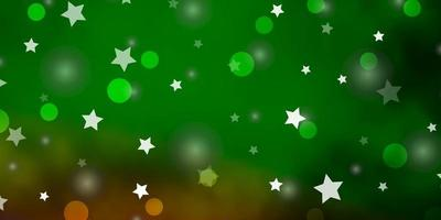 Light Green, Red vector template with circles, stars.