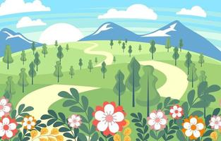 Spring Flat Vector with Green Landscape View
