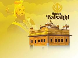 Happy vaisakhi with illustration of sikh guru and golden tample vector