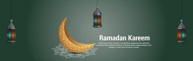 ramadán kareem o eid mubarak banner o encabezado de la luna dorada vector