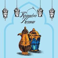 tarjeta de felicitación de invitación de sorteo a mano para eid mubarak vector