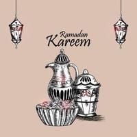 Ramadan mubarak hand draw greeting card vector