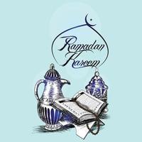 Ramadán kareem o tarjeta de felicitación de celebración de eid mubarak y fondo vector