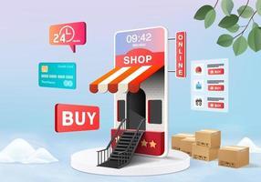 Tienda en línea de compras en 3D para la venta, comercio electrónico móvil Fondo rosa pastel 3d, compre en línea en la aplicación móvil las 24 horas. carrito de compras, tarjeta de crédito. dispositivo de tienda en línea de compras mínimas representación vectorial 3d vector