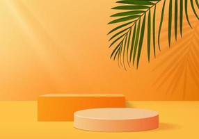 3d background products display podium scene with geometric platform. background vector 3d rendering with podium. stand to show cosmetic products. Stage showcase on pedestal display orange studio