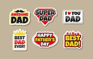 Happy Fathers Day Sticker Set Collection vector