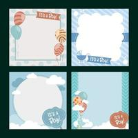 Cute Baby Shower Card Template Set vector
