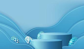 Podio de huevos de Pascua con vector de render 3d en fondo de escena azul. día de pascua con plataforma de geometría para exhibición de productos. Stand para mostrar productos cosméticos. Escaparate de escenario en estudio de exhibición de pedestal