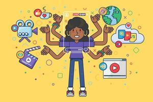 Afroamerican Female Vlogger. Live Stream vector