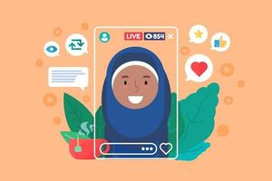 Arabian Female Video Blogger vector