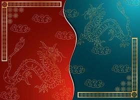 Greeting card design Chinese paper cut background divided into two halves vector