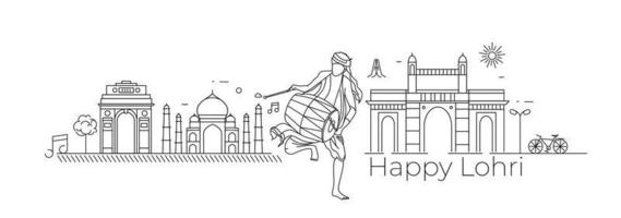 Happy Lohri holiday festival of Punjab India, vector illustration.