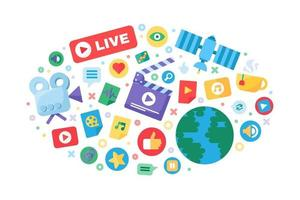 Live Stream Flat Composition vector
