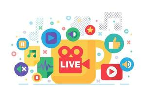Social Live Production. Live Stream Icon. Playing symbol vector