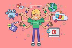 Female blogger lifestyle semi flat concept illustration vector