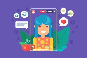 Asian girl vlogger flat color vector character