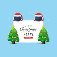 Cute astronaut with Christmas and New Year wishes vector