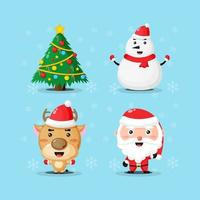 collection of cartoon characters on christmas day vector