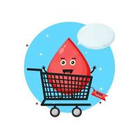 Cute blood mascot in shopping cart with black friday discount vector
