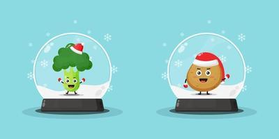 Cute broccoli and potato mascot on a snowglobe vector