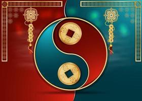 diseño de tarjeta de felicitación fondo de corte de papel chino dividido en dos mitades, signo de equilibrio vector