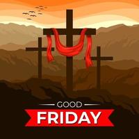 Good Friday Illustration with Crosses vector