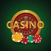 Realistic casino background with casino chips and wheel vector