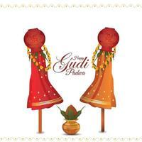 kalash tradicional de la tarjeta happy gudi padwa con ilustración creativa vector