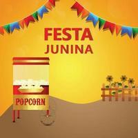 tarjeta de invitación al festival festa junina brasil con ilustración creativa vector