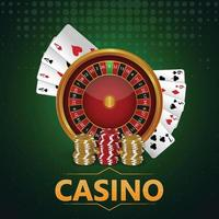 Online casino golden coin colorful chips, playing cards and background vector