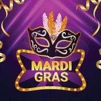 Purple background for carnival invitation celebration card or banner with creative mask and feather vector