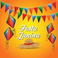 tarjetas de invitación de festa junina con tapa, bandera colorida y farolillo de papel vector